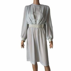 Vintage Impromptu Women 80s Sheer belted dress